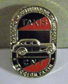 CNT Taxi Enamel Badge